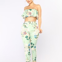 Makiko Floral Pant Set - Mint