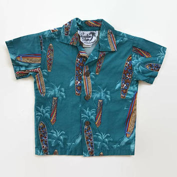 Vintage 80s Hawaiian BOY'S Shirt / 1980s Teal Cotton Kids Toddler Button Up Shirt 12mos