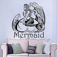 Personalized Name Wall Decals Girl Decal Vinyl Water Sticker Mermaid Art For Nursery Bedroom Home Decor Murals MN961