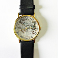 Map Watch, Vintage Style Leather Watch, Women Watches, Mens Watch, Boyfriend Watch, black Watch, World Map,