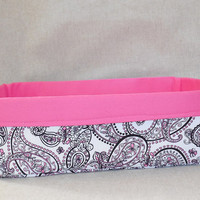 Gorgeous Black, White and Fuschia Paisley Print Long Fabric Basket