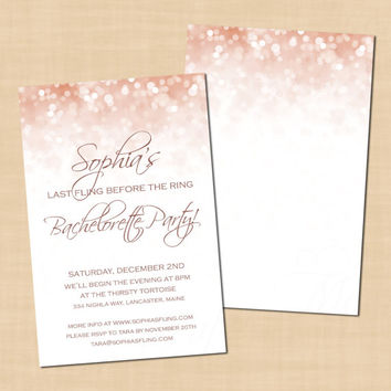 Rose Gold Sparkles Girls Night, Bachelorette Party Invitation (4x6): Text-Editable in Word, Printable on Avery Postcard, Instant Download