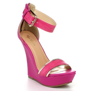 Platform Shoes Anklet Open Stiletto Rhinestones Pumps Pink Wedge Sandals