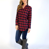 Minnie Plaid V-Neck Tunic: Red & Navy Mix