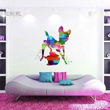 kcik2107 Full Color Wall decal Watercolor Bambi Character Disney Sticker Disney children's room Fawn