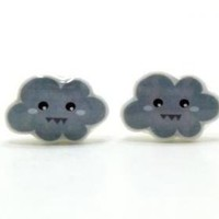 Stormy Cloud Earrings - Grey Sterli.. on Luulla