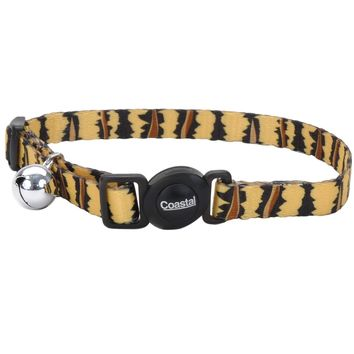Fashion Breakaway Adjustable Cat Collar with Bell, Tiger