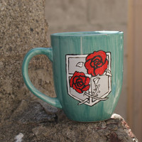 Hand Painted Attack on Titan Garrison Coffee Cup Mug