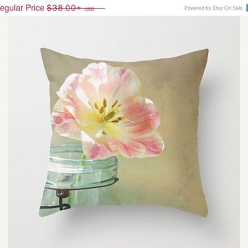 FOUR DAY SALE Vintage Inspired Pink and Yellow Tulip in Blue Jar -  Throw Pillow Cover - Beige - Taupe