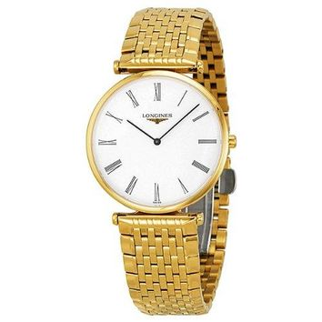Longines La Grande Classique White Dial Yellow Gold Plated Unisex Watch L4.709.2.11.8