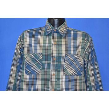 90s Green Blue Plaid Flannel Workwear Shirt Large Tall