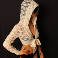 Cream lace cropped hood shrug with bow tie by MIRIMIRIFASHION
