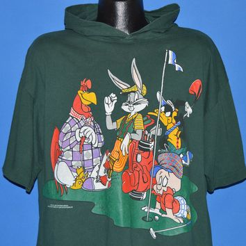 90s Looney Tunes Golf Party Hooded t-shirt Extra Large