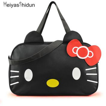 MeiyasShidun Women Travel Duffel Bag Hello Kitty Cartoon Handbags weekend trip tote Luggage Bags Bolsa Feminina Girls School Bag