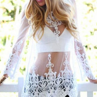 White Long Sleeve Scallop Embroidery Mesh Cover Up