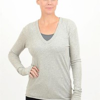 Cotton-Cashmere Loose V Top, Light Heather Gray