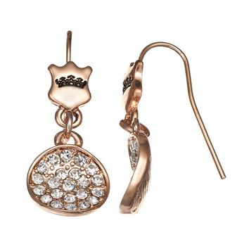 Juicy Couture Disc & Crown Drop Earrings (Pink)