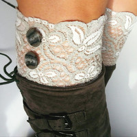 Gray White Lace Boot Cuffs-lace cuffs-boot accessories