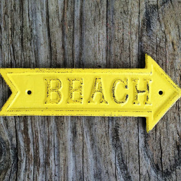 Sunny Canary Yellow Shabby Chic Arrow Sign - Rustic Nautical Home Decor - Garden Signage