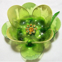 Lucite Olive Green Flower Pin, Floral Painted Petal Rhinestone Brooch, Flower Pin, Mid Century Flower Jewelry 517