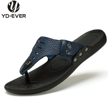 100% GENUINE LEATHER MEN SANDALS-plus size handmade Summer brand beach slippers Men's flip flops casual moccasin Soft sandals