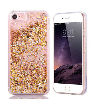For iPhone 7 Plus 6 6S Plus 5 5S Phone Case Diamond Glitter Dynamic Liquid Quicksand Cover For Samsung Galaxy S7 S6 Edge Plus S5