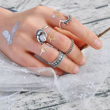 Ancient Silver 4 PCS/Set Ring Set for Women Sailor Moon Cosplay Ring Set for Women Girls Bohemian 2017 Fine Ring Jewelry Anillos