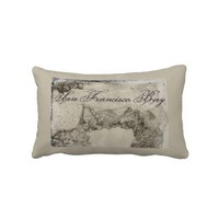 1859 San Francisco Bay Map Throw Pillows from Zazzle.com
