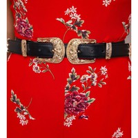 Gold Vagabond Double Buckle Belt