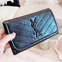 YSL Fashion New Solid Color Leather Handbag Wallet Purse Black
