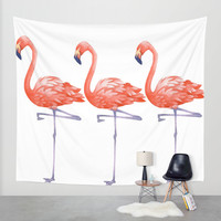 A Colorful Flamingo Triune Wall Tapestry by Girly Growl