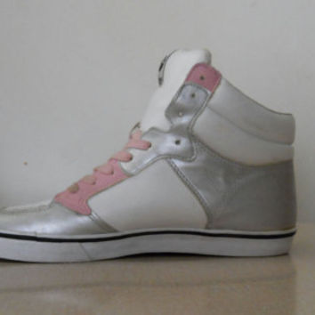 High Top Sneakers / Shoes Steve Madden Fix Block Women Vintage 80s Pink and Metallic Silver Size 9