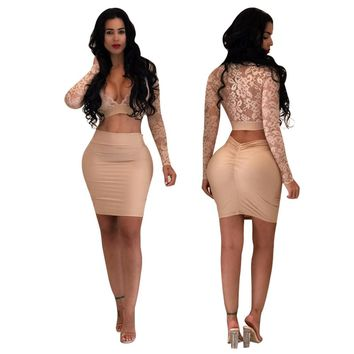 Lace Plunge Top and Ruched Skirt