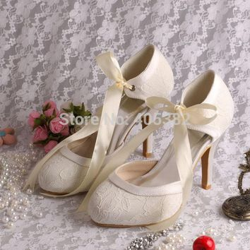 Wedopus European Style Classic Custom Spring Autumn White Lace Bride Wedding Shoes for Women