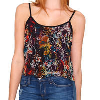 Shadow Chiffon Crop Tank Top - Teal