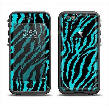 The Vector Teal Zebra Print Apple iPhone 6 LifeProof Fre Case Skin Set