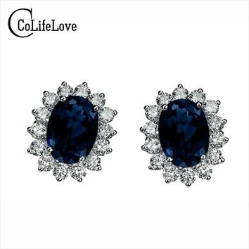 Classic genuine bule sapphire earrings 925 Sterling Silver earring for woman anniversary gift evening party earrings silver
