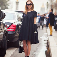 Black shirt flow Dress