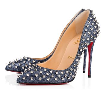 Follies spikes 100 DENIM/SILVER Fabric - Women Shoes - Christian Louboutin