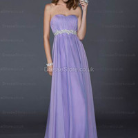 A-line Sweetheart Chiffon Floor-length Lilac Beading Evening Dress at dressestore.co.uk