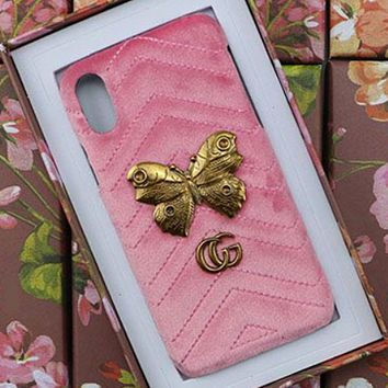 GUCCI Tide brand velvet love butterfly rhombic iPhone XS mobile phone case Pink