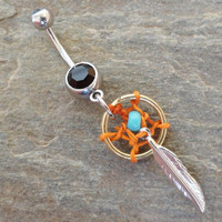 Dreamcatcher Belly Button Ring Orange Dream by MidnightsMojo
