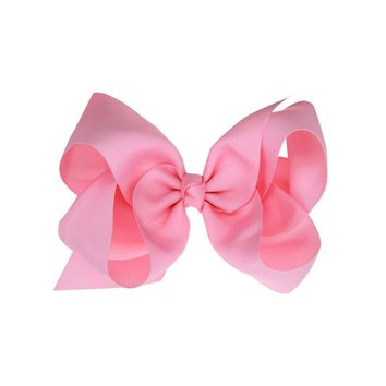 Girls 5.9 Inch Solid Color Grosgrain Ribbon Hair Bow Clips, Barrettes 16 Colors