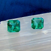 Fine Emerald Pair May Birthstone for 14K Gold Earrings or Fine Gemstone Jewelry  AAA Quality Loose Gemstone Pair