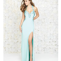 Aqua Blue Beaded Halter Open Back Dress