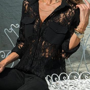 New Black Patchwork Lace Pockets Single Breasted V-neck Long Sleeve Blouse