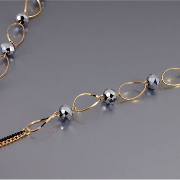 Elegant Rhinestone Decoration Necklace (Golden & Black)
