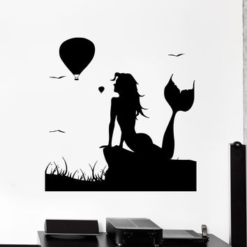 Wall Vinyl Decal Mermaid Air Ballloon Romantic Love Home Interior Decor Unique Gift z4065