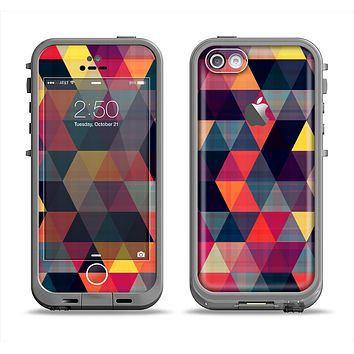 The Vector Triangular Coral & Purple Pattern Apple iPhone 5c LifeProof Fre Case Skin Set