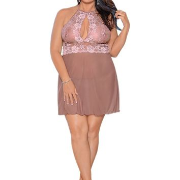 Escante EL-36337X halter tie open front Babydoll with matching cotton lined g-string